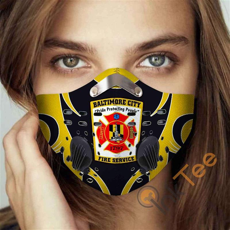 Baltimore-city-fire-department Filter Activated Carbon Pm 2.5 Fm Sku 3456 Face Mask