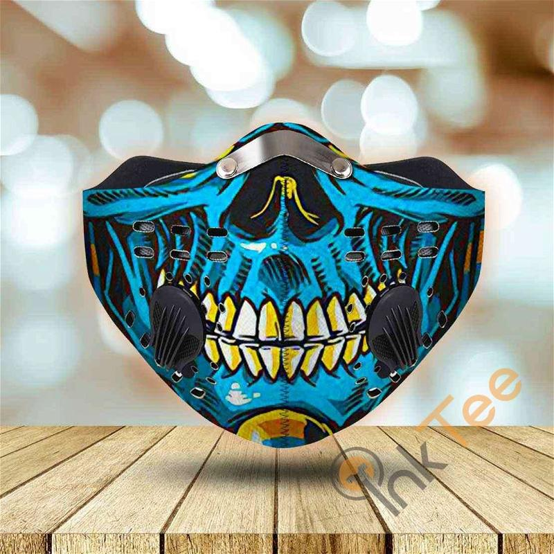 Skull Blue And Gold Filter Activated Carbon Pm 2.5 Fm Sku 3318 Face Mask