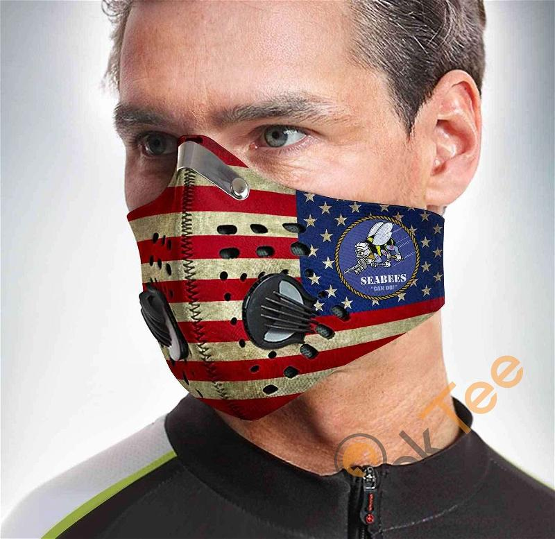U.s. Navy Seabees Filter Activated Carbon Pm 2.5 Fm Sku 1554 Face Mask