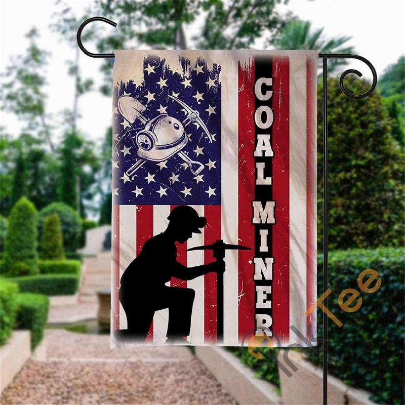 Custom 4th Of July Coal Miner Garden Flag