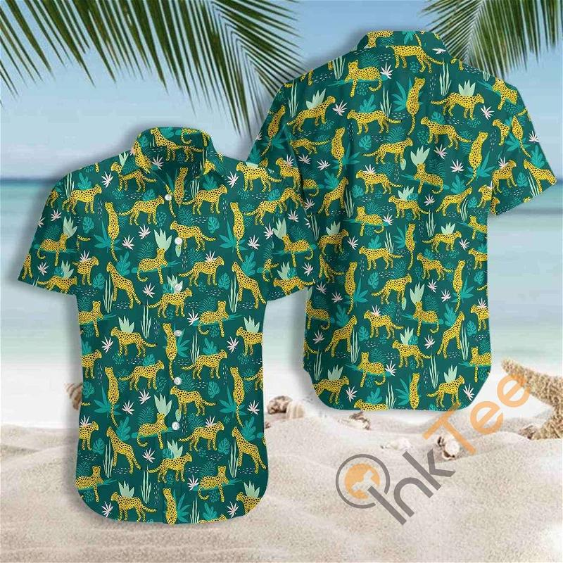 Leopards And Tropical Leaves Hawaiian shirts