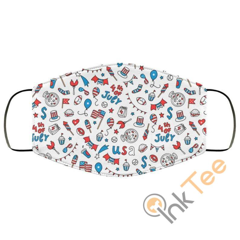 4th Of July Party Patriotic Patternelastic Reusable And Washable Face Mask