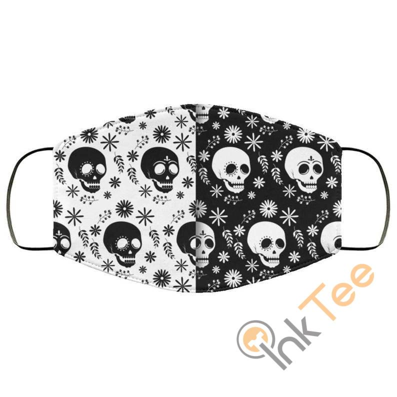 Back And White Skull Reusable Washable Face Mask