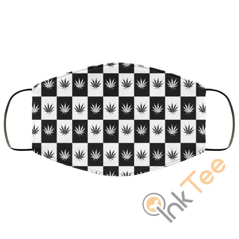 Black And White Checkered Pot Weed Reusable Face Mask