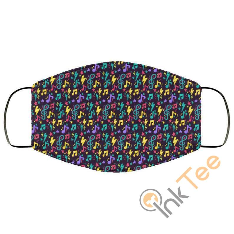 Colorful Musical Noteselastic Reusable And Washable Face Mask