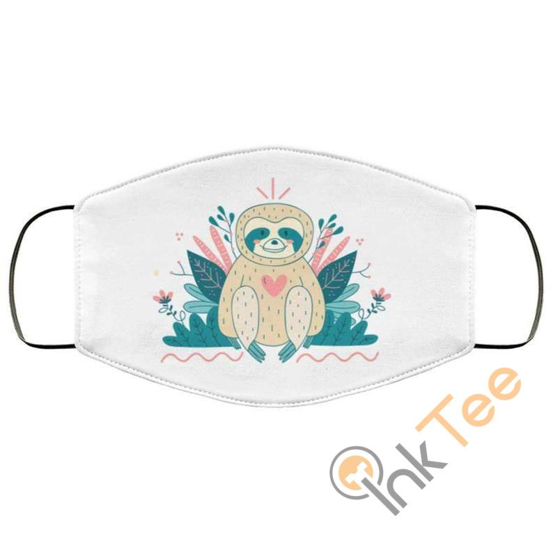 Cute Loveable Sloth With Love Heart Reusable Washable Face Mask