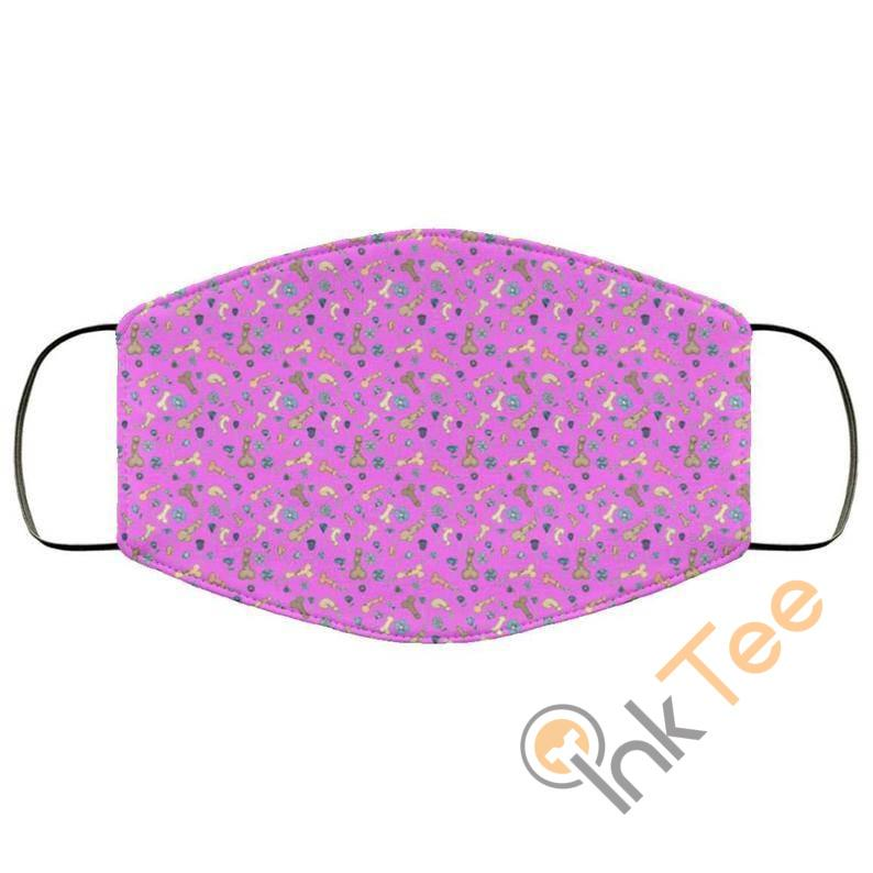 Cute Penis Cock Pink Background Reusable And Washable Face Mask