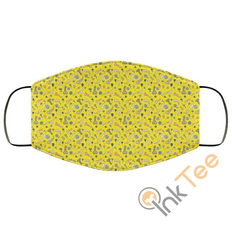 Cute Penis With Yellow Background Reusable Face Mask