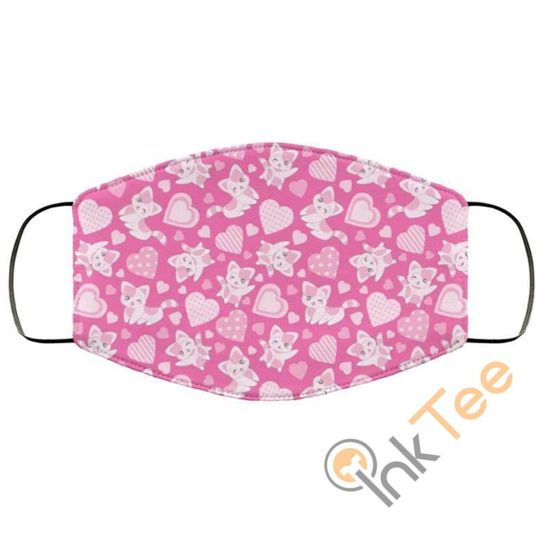 Pink Cats And Hearts Reusable Washable Face Mask