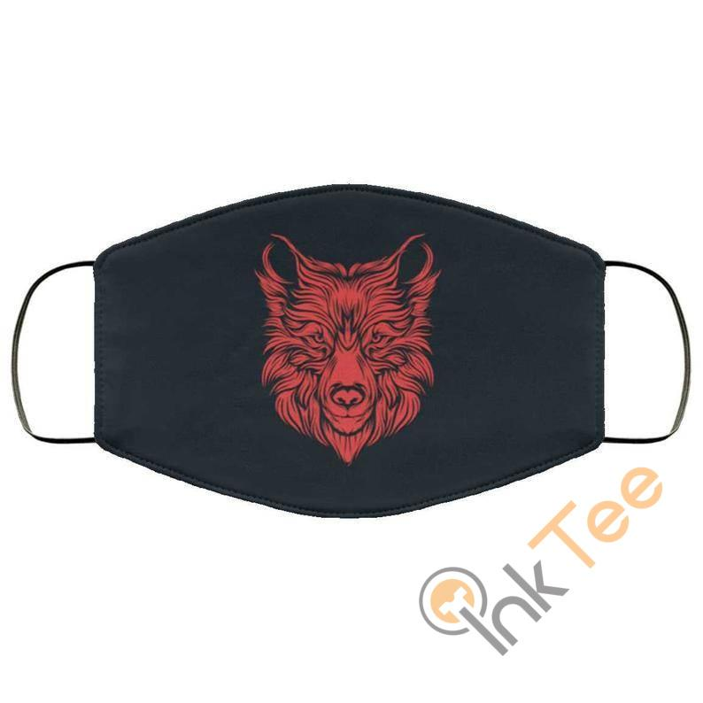Red Wolf Head Reusable Face Mask