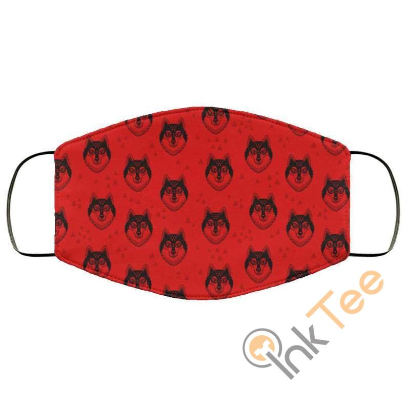 Red Wolf Heads Reusable Face Mask