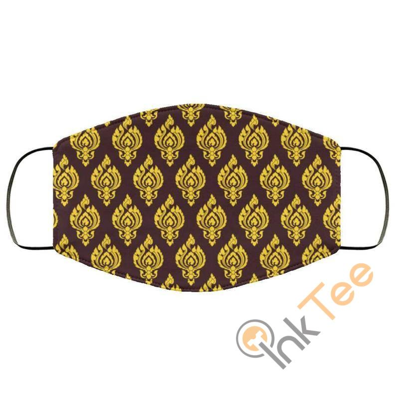 Yellow Asian Thai Patternelastic Reusable And Washable Face Mask