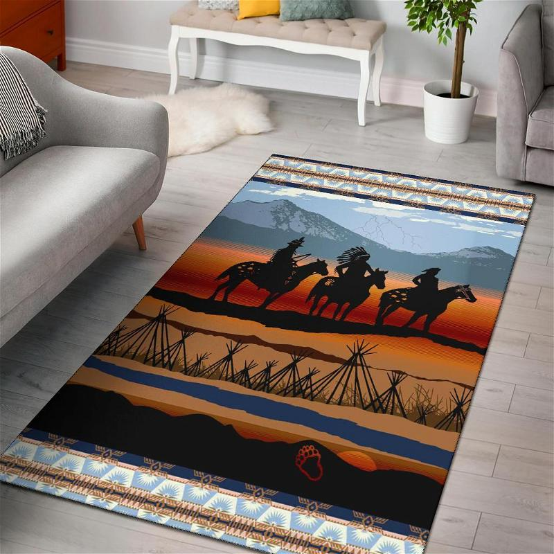 Chief Riding Horses Native American Area Limited Edition Amazon Best Seller Sku 267107 Rug