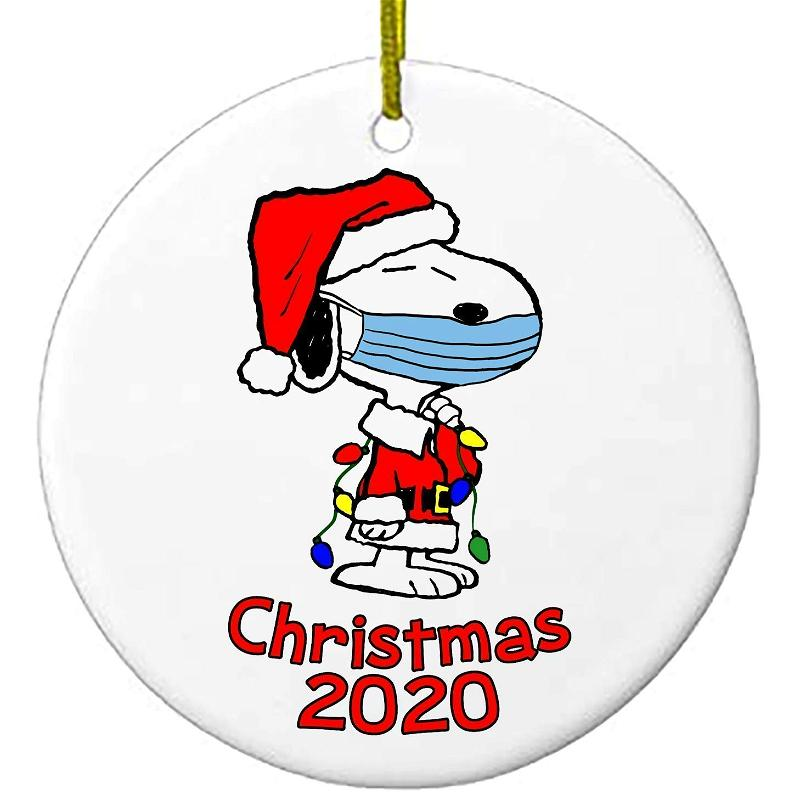 2020 Christmas Ornaments Snoopy With Mask Charlie Brown Peanuts Personalized Gifts