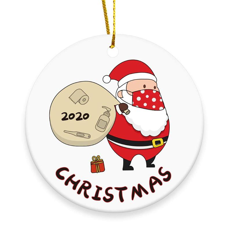 2020 Christmas Tree Ornament Merry Christmas Masked Santa Claus Toilet Paper Personalized Gifts