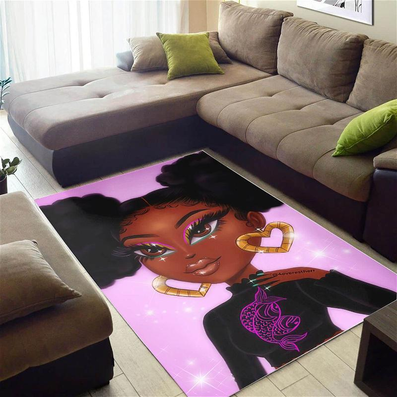 African American Beautiful Afro Girl Print Afrocentric Decorating Ideas Rug
