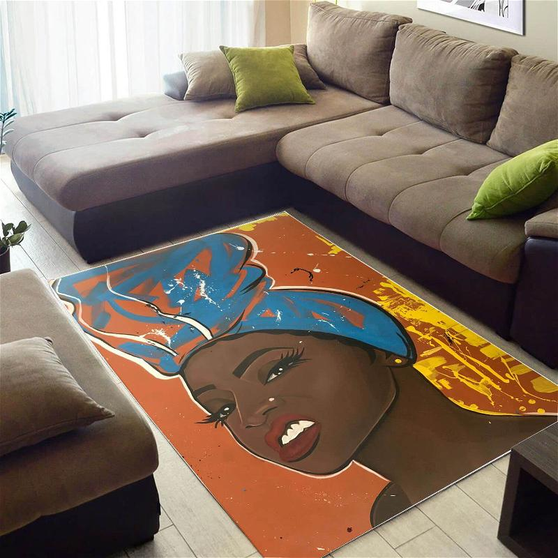 African American Pretty Afrocentric Lady Art Modern Themed Living Room Rug
