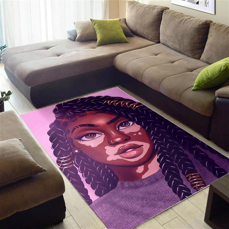 African American Pretty Black Girl Afro Inspired Modern Afrocentric Rug