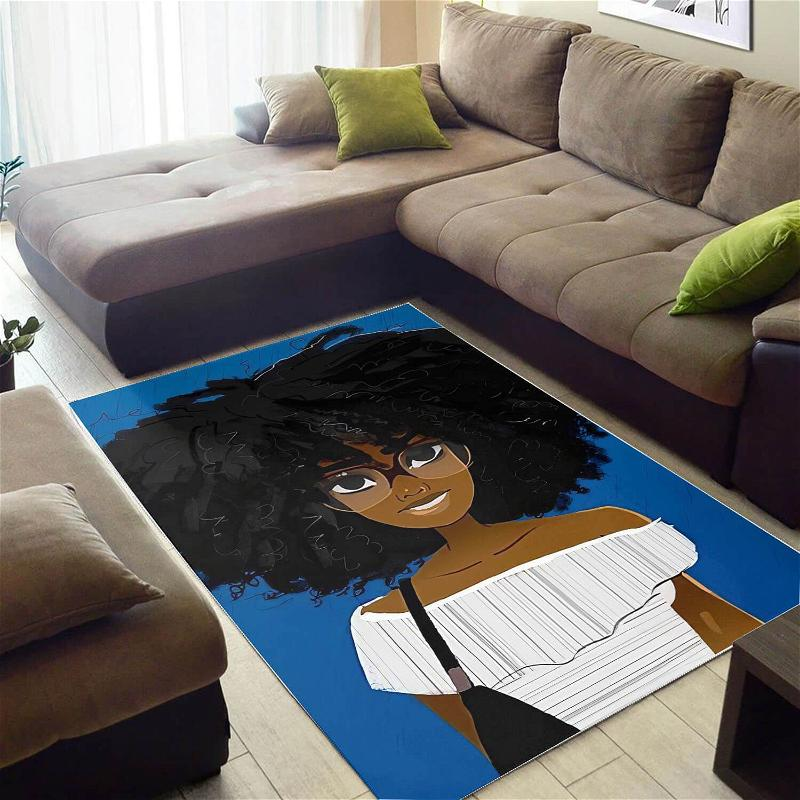 African American Pretty Black Woman With Afro Carpet Afrocentric Home Rug