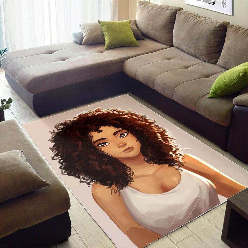 African American Pretty Girl With Afro Carpet Design Modern Afrocentric Rug