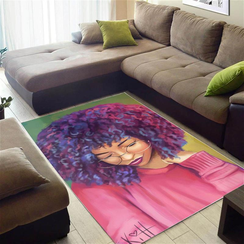 African Beautiful Black Woman With Afro Print Floor Afrocentric Home Rug