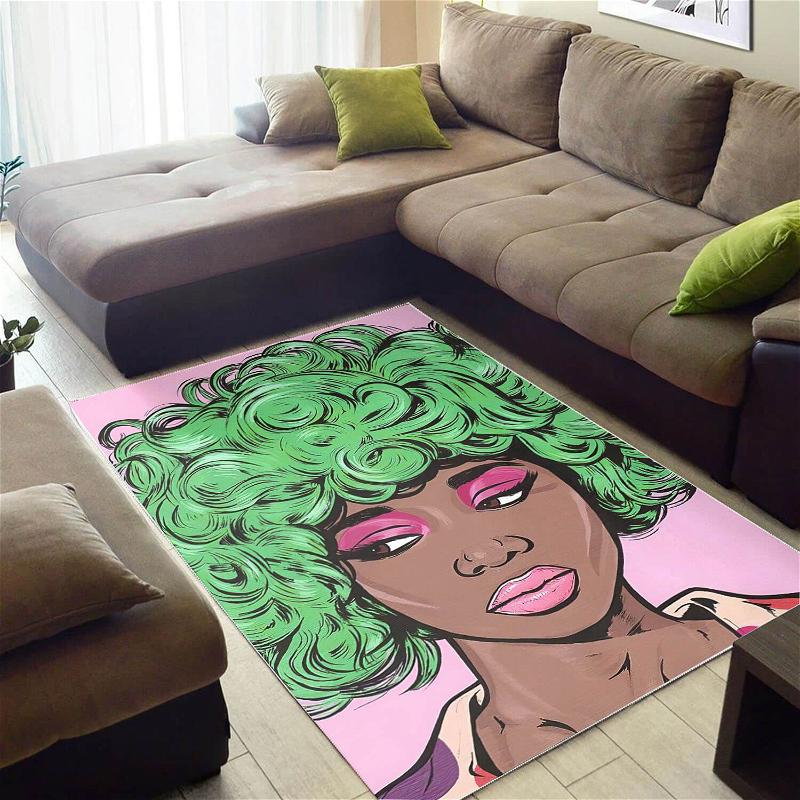 African Pretty Black Afro Girl Themed Afrocentric Rug
