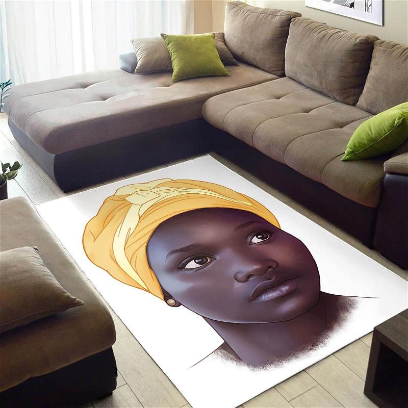 African Pretty Black Girl American Print Afrocentric Living Room Ideas Rug