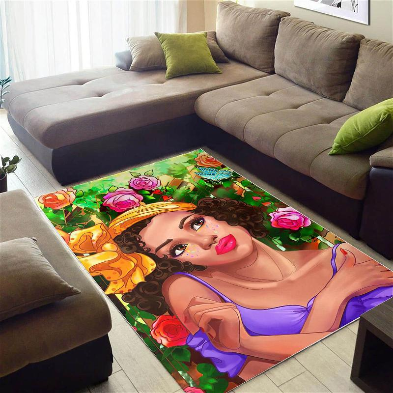 African Pretty Black Woman With Afro Carpet Themed Rooms Ideas Rug