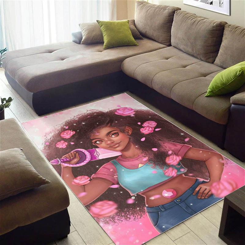Afrocentric Beautiful Afro American Girl African Carpet Themed Decorating Ideas Rug