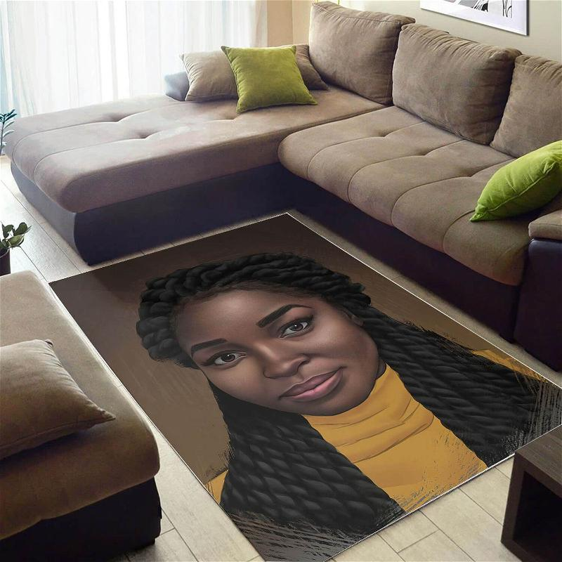 Afrocentric Beautiful Afro American Girl African Print Carpet Home Rug