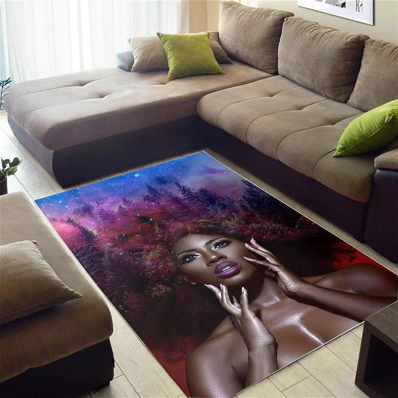 Afrocentric Beautiful Afro Girl African Carpet Themed Home Rug