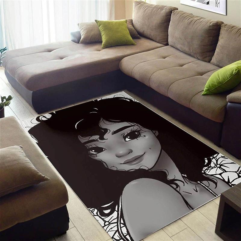 Afrocentric Beautiful Afro Lady African American Print Themed Decorating Ideas Rug