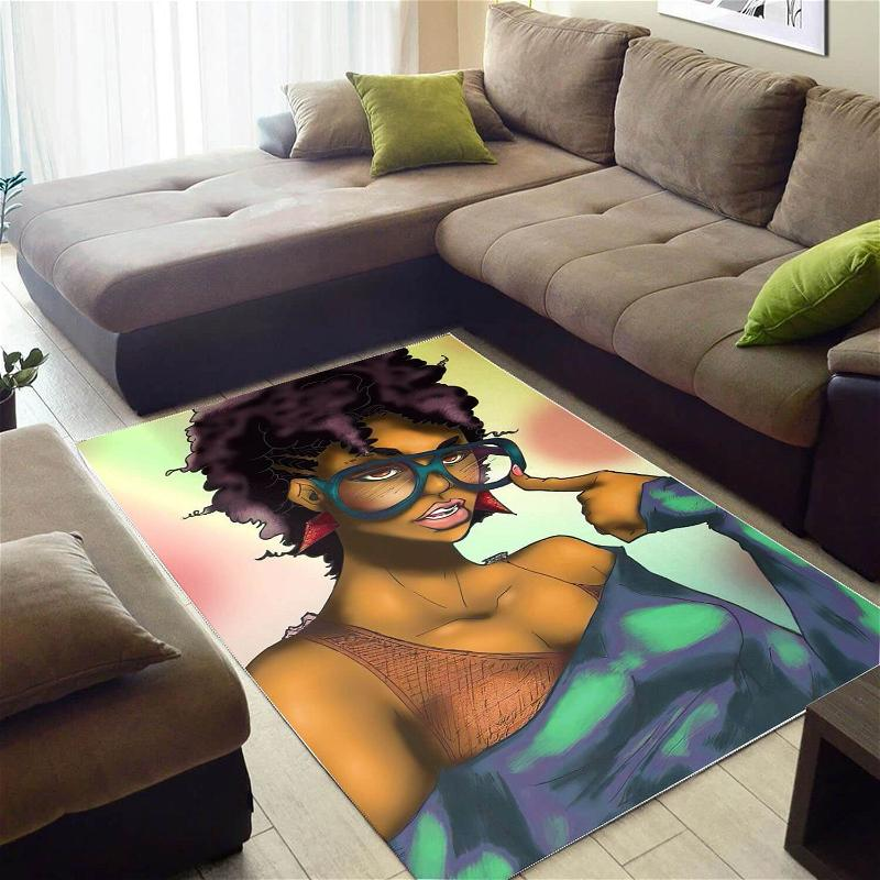 Afrocentric Beautiful Black Afro Girl African American Art Themed Home Rug
