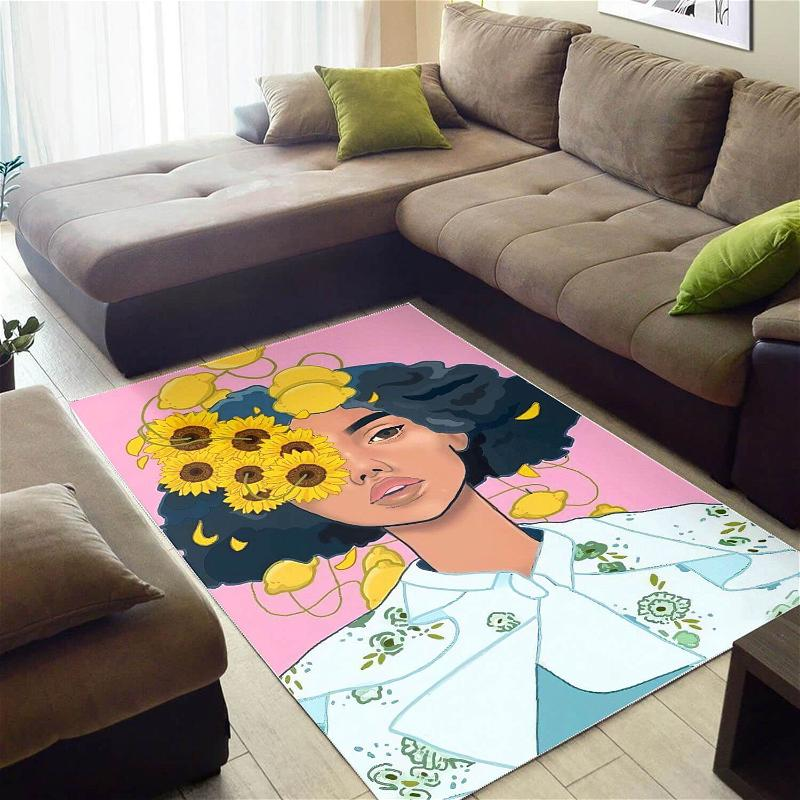 Afrocentric Beautiful Black Girl Afro African Print Carpet Themed House Rug