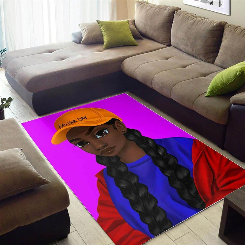Afrocentric Pretty Black Girl Afro African Design Floor Themed Rug