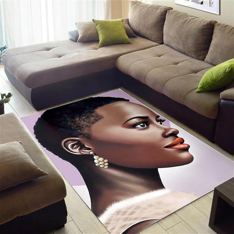 Afrocentric Pretty Melanin Afro Girl African Print Floor Themed House Rug