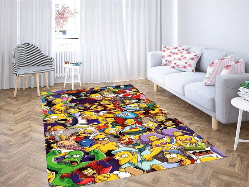 All Simpsons Characters Carpet Rug