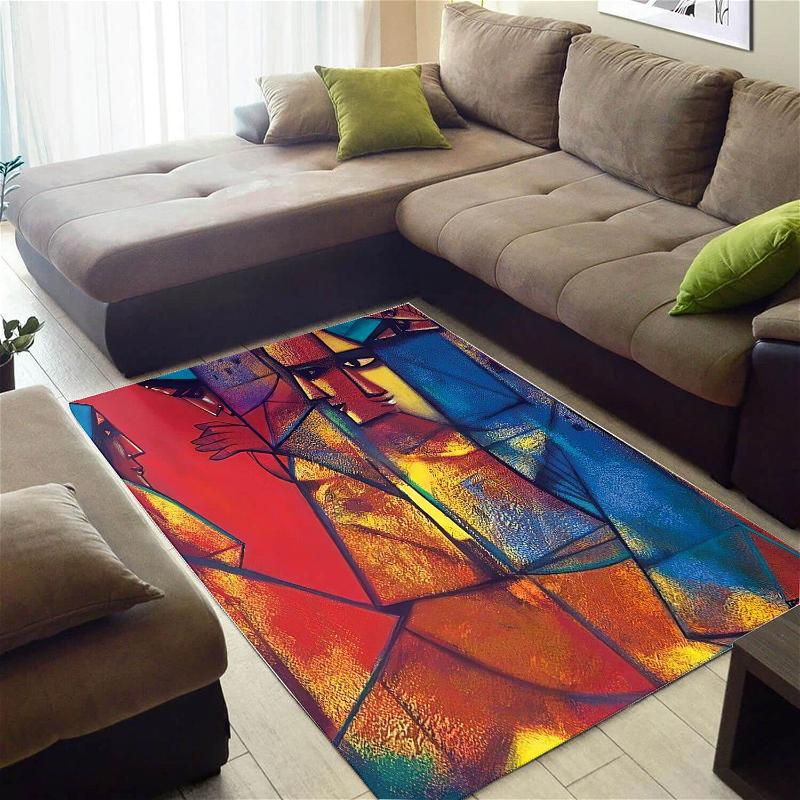 Beautiful African American Cool Themed Seamless Pattern Large Carpet Inspired Home Rug