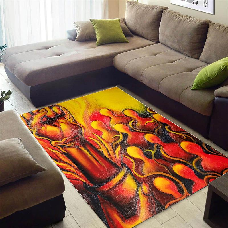 Beautiful African American Cute Inspired Afro Lady Carpet Style Rug