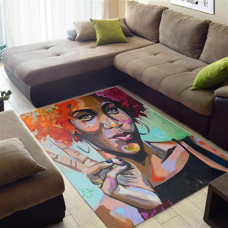 Beautiful African American Cute Natural Hair Afro Lady Large Room Rug