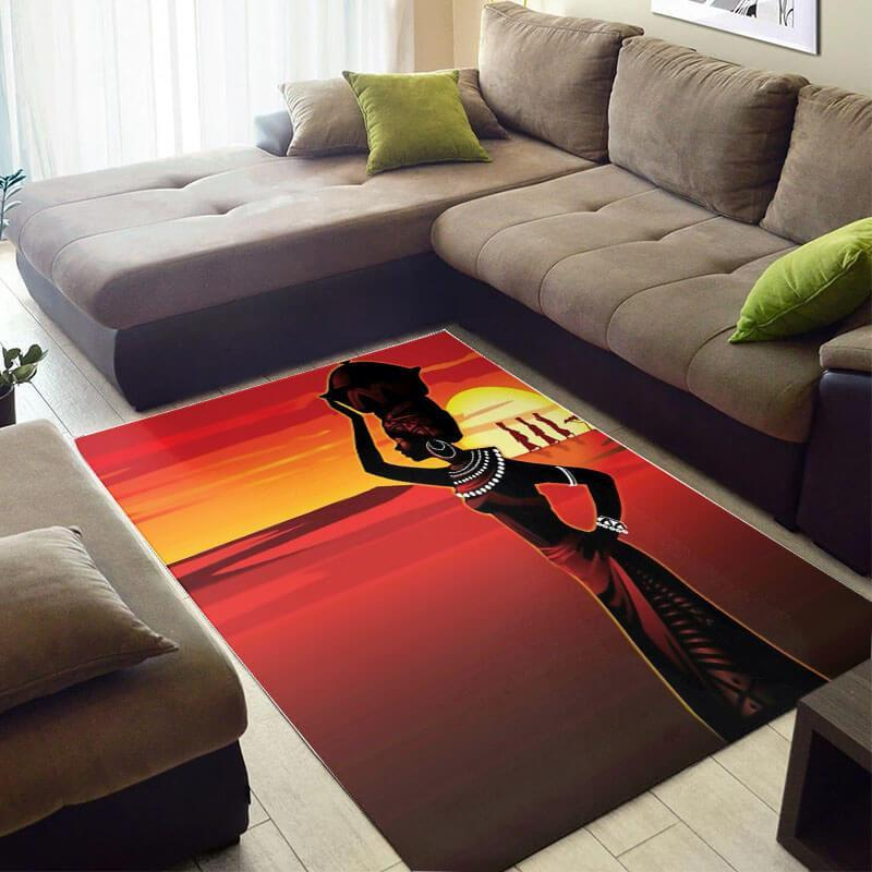 Beautiful African Cute American Afro Lady Style Area Room Rug