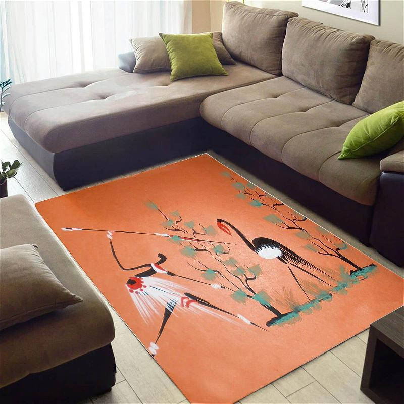 Beautiful African Fancy Natural Hair Afro Woman Carpet Themed Home Rug