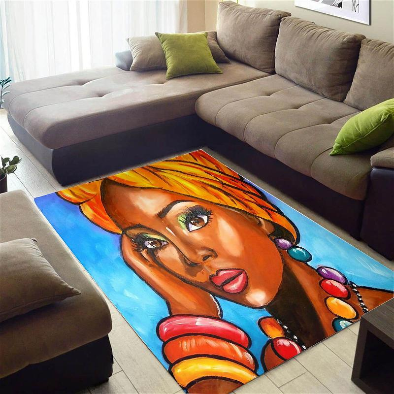 Beautiful African Style Cute Afrocentric Melanin Woman Design Floor House Rug