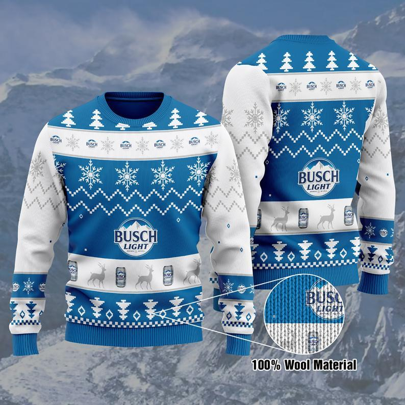 Busch Light Beer Christmas 100% Wool Ugly Sweater