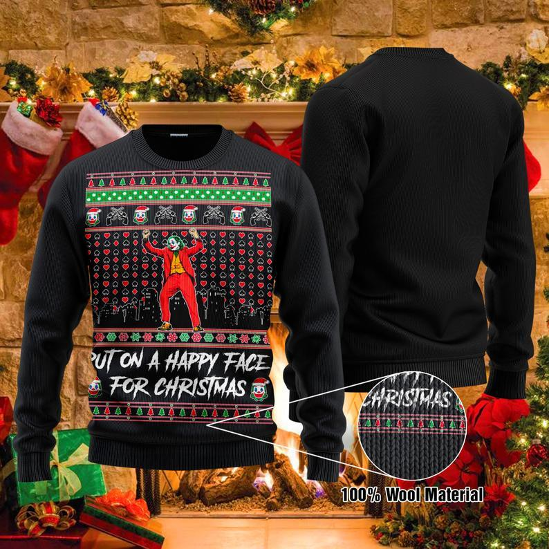 Christmas Joker Put On A Happy Face Ugly Sweater