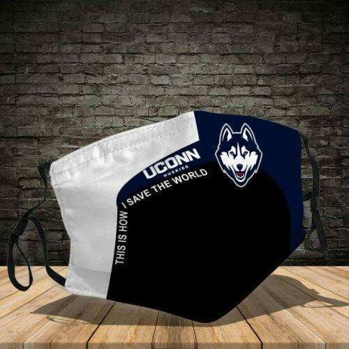Connecticut Huskies This How I Save The World No1754 Face Mask