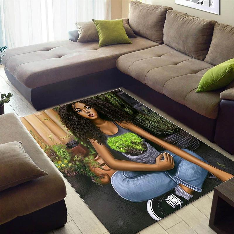 Cool African Beautiful Inspired Afro Girl Style Carpet Room Rug