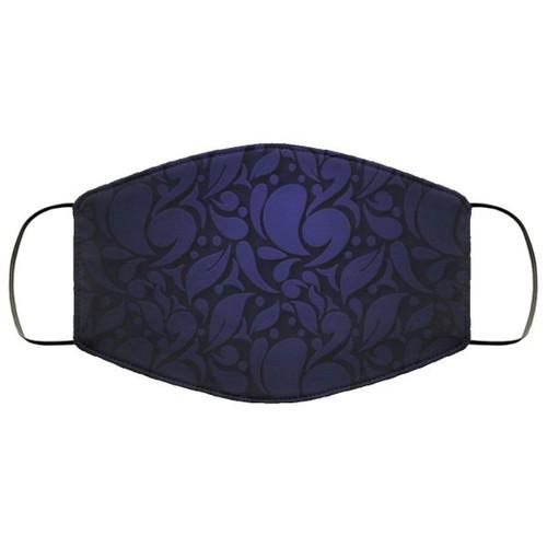 Dark Blue Abstract Ornamental Flowers Washable No1864 Face Mask