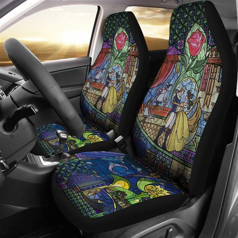 Disney Beauty And The Beast Art Glass Car Seat Covers