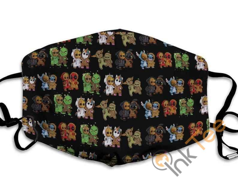 Friends Baby Yoda Gizmo Groot Stitch And Toothless Mashup Anti Droplet Filter Cotton Face Mask